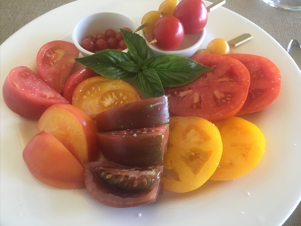 Plate of various tomatoes